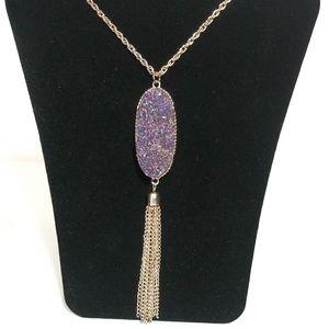 Long Boho Style Tassel Necklace  - Purple Druzy